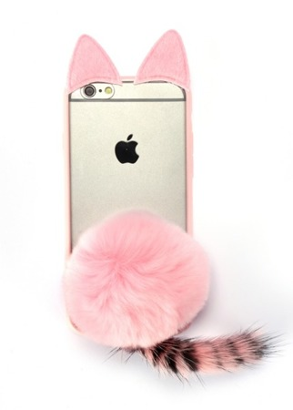CASE CAT WITH the tail PINK IPHONE 6 / 6S